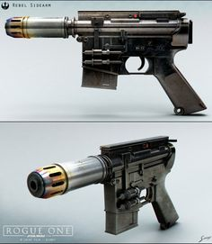 Here's an other repost from a few years ago, Cassian's blaster from Rogue one, the pistol was part of a larger, modular rifle. Star Wars Clones, Rpg Star Wars, Star Wars Guns, Star Wars Droids, Star Wars Ships, Star Wars Clone Wars, Star Trek, Rogue One Star Wars, Sci Fi Weapons