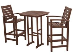 Signature 3 Piece Bar Set. Outdoor dining furniture available in 7 fade-resistant colors. Made from recycled plastic.