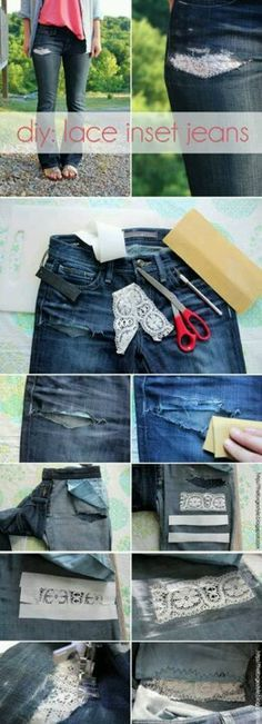 Lacey way to fix holes in jeans going to have to do this to my knee ripped jeans haha