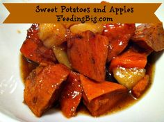 Sweet potatoes and apples seasoned with cinnamon and spices make a wonderful and easy side dish for chicken, pork or even your Thanksgiving dinner. Sweet Potato Slices, Sweet Potato And Apple, Side Dishes For Chicken, Side Dishes Easy, Traditional Turkey Stuffing, Greek Lemon Chicken Soup, Potato Dishes, Thanksgiving Side Dishes, Holiday Dinner