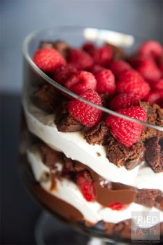 Brownie pudding raspberry trifle- made a similar recipe for my husbands Christmas party.  I don't usually eat a lot of chocolate but this dish is delish!!!