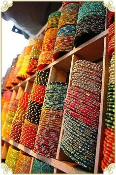 Royal Pink City of Jaipur Rows and rows of colorful handmade bangles from India!Rows and rows of colorful handmade bangles from India!