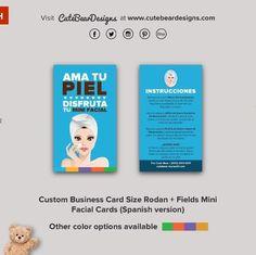 Custom rodan fields business card with headshot choice of style custom business card size rodan fields mini facial cards spanish version colourmoves