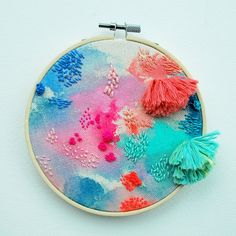 Tactile Textile Art Inspired by Floating Gardens by Katy Biele Abstract Embroidery, Embroidery Hoop Art, Beaded Embroidery, Embroidery Stitches, Embroidery Patterns, Contemporary Embroidery, Modern Embroidery, Weaving Projects, Craft Projects