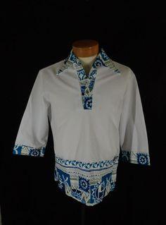 7edccf8f Vintage Iolani White & Blue Polyester-Bark Cloth Traditional Hawaiian  Shirt-M #