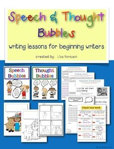 Speech & Thought Bubbles writing lessons for beginning writers Includes anchor posters, lesson plan, printables, rubric for evaluation, and a check your work poster. $