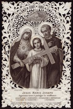 The Holy Family, antique prayer card