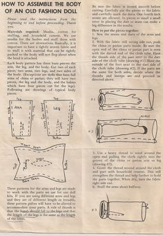 Here are instructions I used for many years to make bodies for the reproduction china dolls I used to make.  Pardon the stains.   It...