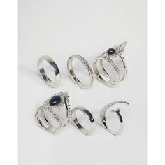 ASOS Pack of 6 Mystical Stone Rings ($9.83) ❤ liked on Polyvore featuring jewelry, rings, silver, band rings, asos rings, stone band rings, stone ring and stone jewelry