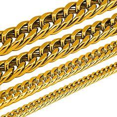 Königskette Panzerkette Armband Set o. einzeln aus Edelstahl schwarz silber gold, Größe:8 mm;Farbe:Gold.;Auswahl:Kette 55 cm - http://schmuckhaus.online/soulcats/kette-55-cm-koenigskette-panzerkette-armband-set-4