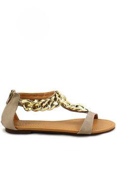 Aurora Chain Link Sandals - Beige