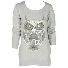 Gold Foil Owl Print Grey Hooded Sweatshirt ($21) ❤ liked on Polyvore