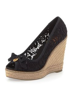 Tory Burch - Jackie Lace Espadrille Wedge, Black
