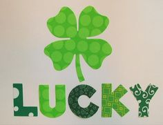 St. Patrick's Day Fabric Applique - Iron or Sew On - LUCKY Four Leaf Clover - Lime and Dots