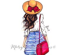 Fashion Illustration Design The Striped Skirt by Melsys on Etsy - Illustration Mignonne, Illustration Mode, Girly Drawings, Art Drawings Sketches, Trendy Fashion, Fashion Art, Girl Fashion, Fashion Painting, Fashion Dresses