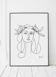 Picasso Sketch illustration of a girl, Art Print Poster in Picasso Sketch Style Black and White with red background Minimalist style Beauty Illustration, Simple Illustration, Pablo Picasso, Picasso Art, Picasso Paintings, Picasso Sketches, Picasso Drawing, Picasso Tattoo, Matisse Kunst