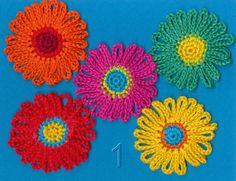 Moois van ' M(i)e': gehaakt bloemetje versie 1 / crocheted flower 1 : tut