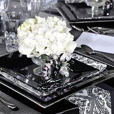 Elegant Black and White Damask Wedding Reception Table Ideas-Party City