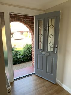 Solidor doors suppliers and installers. Lowest Solidor prices in the Midlands from including VAT. Contact us today for your new Solidors quote. Cottage Front Doors, Victorian Front Doors, Front Door Porch, Front Door Entrance, House Front Door, Glass Front Door, Front Door Decor, Grey Composite Front Door, Grey Front Doors