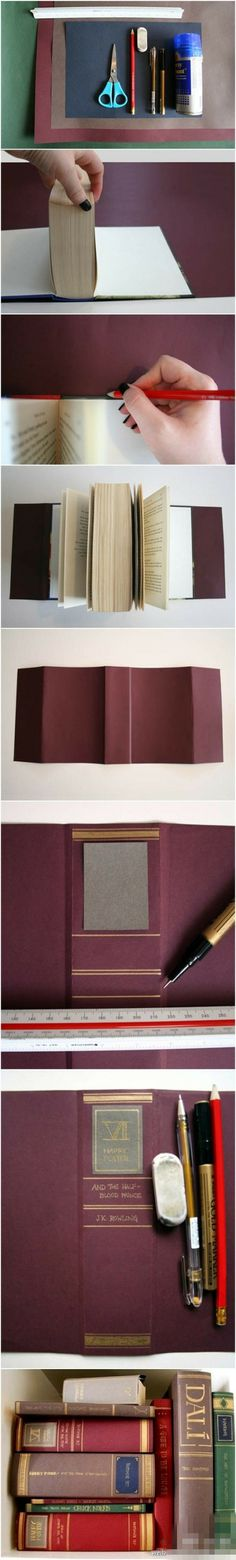 The look of leather bound books without the money! I should do this to my soft covered books :)