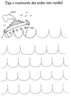 Werkblad: vervoer boot fijne motoriek schrijfpatronen