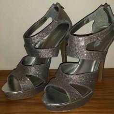 Sparkley platform heels 5.5 inch platform heels by Charlotte Russe. Hardly worn, like new. Charlotte Russe Shoes Heels