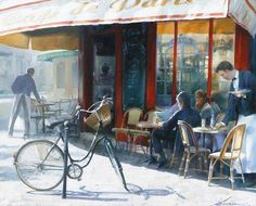 At the cafe Andrei Krioutchenko born 1955 in Tashkent, Uzbekistan living in France more: Weatherburn Gallery All Posters Vim. Watercolor And Ink, Watercolor Paintings, Watercolors, Life Is Beatiful, Sidewalk Cafe, Audrey Kawasaki, Bicycle Art, Painting People, Andrew Wyeth