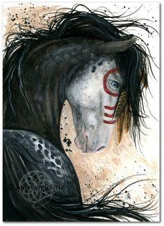 Majestätische Pferd  Geist Paint Federn Appaloosa  Fine ArT