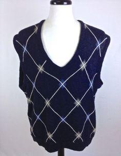 CALLAWAY-Sweater-Mens-XL-Vest-Alpaca-Blue-Golf-Pullover-Argyle-Sleeveless