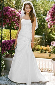 David's Bridal Side-Draped Fit & Flare Gown with Applique Detail Style WG3032  Simple but elegant