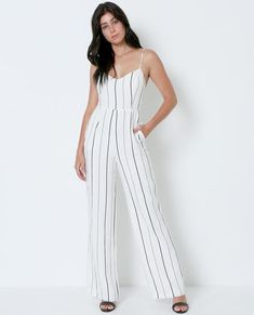 White Out Romper - White Lace – Piin   www.ShopPiin.com White Romper Outfit, Lush Clothing, Striped Jumpsuit, Pleated Midi Skirt, Black Tie, White Lace, Going Out, Rompers, Denim Skirts