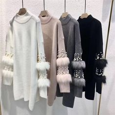 New Faux Fur Embellished Sleeve Sweater Long-sleeve Jumpers .- New Faux Fur Embellished Sleeve Sweater Long-sleeve Jumpers with pearls Turtleneck Pull Casual Pullovers Jersey Mujer Invierno Casual Sweaters, Long Sweaters, Hijab Fashion, Fashion Dresses, Pullover Mode, Barbie Mode, Mode Hijab, College Fashion, Teacher Fashion