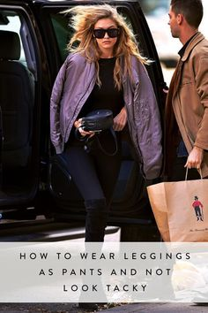 Gigi Hadid Purple Bomber Jacket Fall Celebrity Street Style Inspo by Because Im Addicted How To Wear Leggings, Leggings Are Not Pants, Free Leggings, Hot Pants, Gigi Hadid Style, Purple Jacket, Look Chic, Pants Outfit, Star Fashion