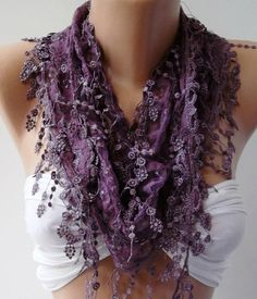 Reserved for Cathleen.Purple - Elegance  Shawl / Scarf with Lacy Edge