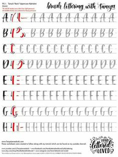 Brush Lettering Worksheet, Lettering Guide, Hand Lettering Practice, Hand Lettering Alphabet, Lettering Styles, Hand Lettering For Beginners, Calligraphy For Beginners Worksheets, Caligraphy Practice Sheets, Brush Lettering Quotes