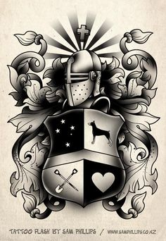 family+tattoo+symbols | Black and White Crest - Sam Phillips - Artist . Illustrator . Graphic ...