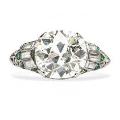 Vintage Old Mine Cut Diamond Emerald Engagement Ring