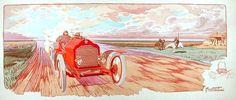 """1907, St Petersbourg - Moscou, Automobiles Lorraine Dietrich, pilote L. Duray - En 1907, Montaut éditait une série de 31 lithographies, contenues dans un ouvrage intitulé """" Dix ans de courses """"."""