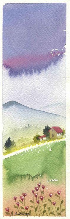 cuori in montagna watercolor