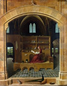 Antonello Da Messina St Jerome in his Study, , National Gallery, London. Read more about the symbolism and interpretation of St Jerome in his Study by Antonello Da Messina. Renaissance Kunst, Renaissance Artists, Renaissance Paintings, St Jerome, Italian Painters, Italian Artist, Sgraffito, The National, National Gallery