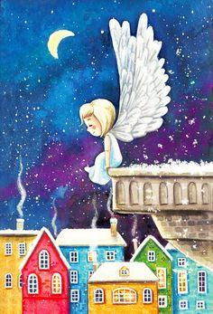 Christmas Scenes, Christmas Angels, Christmas Art, Christmas Drawing, Christmas Paintings, Engel Illustration, Flower Art Images, Snow Angels, Theme Noel