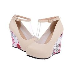 Ankle Strap Floral Print High Wedges Platform Pumps For Women Casual Plus Size 4-10.5 Dress Elegant Beige Prom Heels Shoes 7 B (M) US $30.69