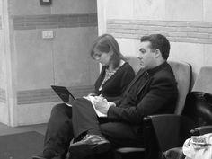 Il lavore dei giornalisti/studenti durante il convegno