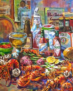 Louisiana Seafood Poster featuring the painting La Table De Fruits De Mer by Dianne Parks Louisiana Seafood, Louisiana Art, Louisiana Recipes, Louisiana Kitchen, Louisiana Swamp, Louisiana Creole, Louisiana History, Decoupage, New Orleans Art