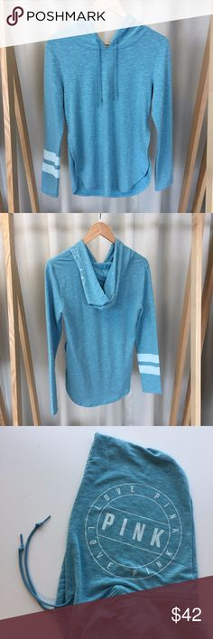 NWT VS PINK turquoise Pullover Comfortable and light material. Slits on the side. Has the collegiate/varsity double stripe on the right sleeve. PINK Victoria's Secret Tops Tees - Long Sleeve