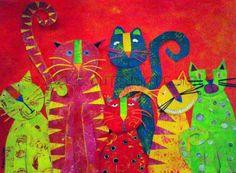 Cat art, Cat canvas art print, Whimsical cat art, Cat giclee art print, 5 x 7…