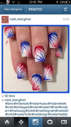 18 Amazing Fourth of July Nail Art Designs for Teens Patriotic Nail Art Fingernail Designs, Nail Art Designs, Nails Design, 4th Of July Nails, Fourth Of July, Firework Nails, Fireworks, Patriotic Nails, Holiday Nail Art