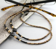 Rustic+Sunglasses+Chain+Black+Gold+Eyeglass+Chain+by+Maetri