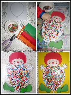Easy Crafts For Everyone Clown Crafts, Circus Crafts, Carnival Crafts, 2d Shapes Activities, Activities For Kids, Easy Crafts, Diy And Crafts, Arts And Crafts, Theme Carnaval