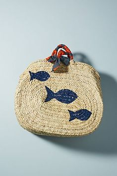 my obsession with fish just got real!! Love - Painted Fish Straw Tote Bag